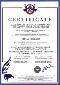 OHSAS 18001:2007 ( FAYER İNŞAAT )