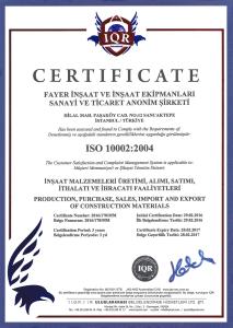 ISO 10002:2004 (FAYER İNŞAAT)