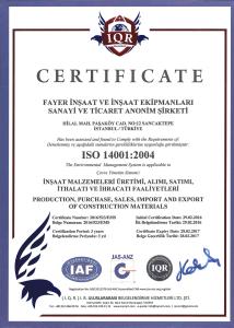 ISO 14001:2004 ( FAYER İNŞAAT )